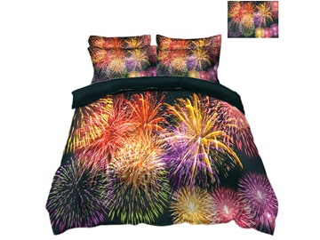 Amazing Fireworks Display Printed 3D 4-Piece Christmas Bedding Sets/Duvet Covers