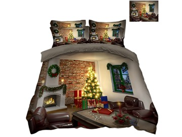Decorated House and Christmas Tree Printed 3D 4-Piece Bedding Sets/Duvet Covers