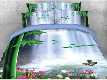 Waterfall Green Bamboo and Flower Printed 4-Piece 3D Bedding Sets/Duvet Covers