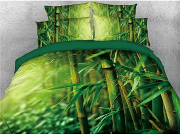 Green Fresh Bamboo Tree Printed 4-Piece 3D Bedding Sets/Duvet Covers