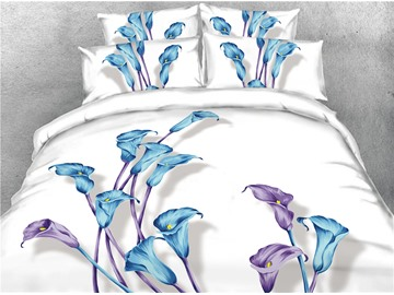 Blue and Purple Flowers Digital Printed 4-Piece 3D Bedding Sets/Duvet Covers