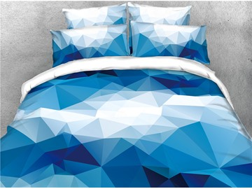 Blue Abstract Geometric Gradient Printed 4-Piece 3D Bedding Sets/Duvet Covers