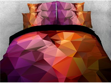 Colorful Gradient Geometric Printed 4-Piece 3D Abstract Bedding Sets/Duvet Covers