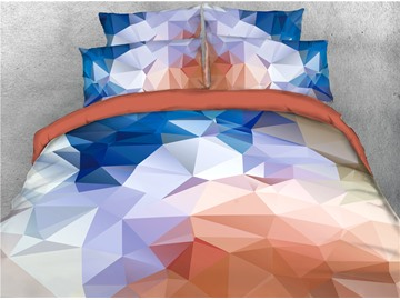 Abstract Geometric Gradient Printed 4-Piece 3D Bedding Sets/Duvet Covers