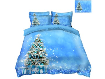 Christmas Tree and Gifts Light Blue 3D 4-Piece Bedding Sets/Duvet Covers