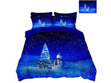 Christmas Tree and Snowman Blue Snowy Night 3D 4-Piece Bedding Sets/Duvet Covers