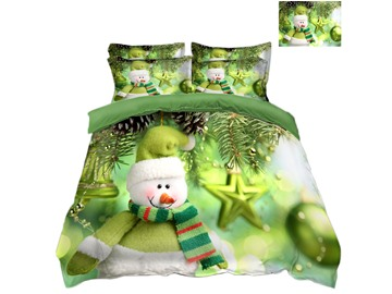 Snowman and Decorative Ball Green 4-Piece 3D Christmas Bedding Sets/Duvet Covers