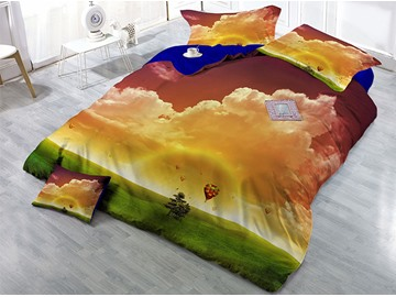 Clouds and Green Grass Natural Scenery Printed 4-Piece 3D Bedding Sets/Duvet Covers