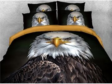 Powerful Bald Eagle Printed Cotton 4-Piece 3D Bedding Sets/Duvet Covers