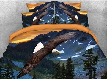 Flying Bald Eagle and Scenery Printed 4-Piece 3D Bedding Sets/Duvet Covers