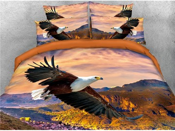 Bald Eagle Flying Over the Mountain Printed 4-Piece 3D Bedding Sets/Duvet Covers