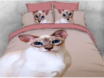 White Cat with Blue Eyes Printed 4-Piece 3D Bedding Sets/Duvet Covers