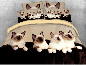 Four Cats are Looking at Somewhere Printed 4-Piece 3D Bedding Sets/Duvet Covers