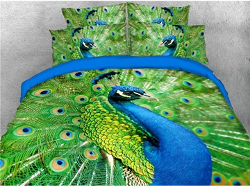 Peacock Spreads His Splendid Tail 3D 4-Piece Bedding Sets/Duvet Covers