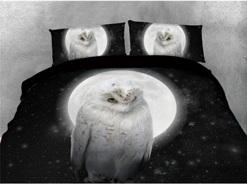 White Owl and Moon Night Printed 4-Piece 3D Bedding Sets/Duvet Covers