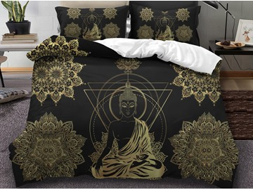 Golden Buddha and Triangle Printed 3D 3-Piece Bedding Sets/Duvet Covers