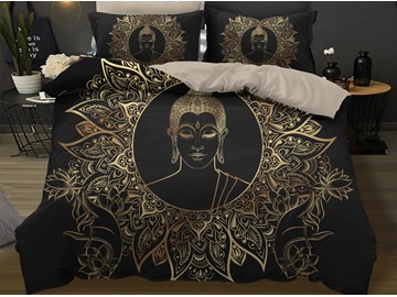 Golden Buddha Head Bergamot Lotus Design 3D 3-Piece Bedding Sets/Duvet Covers