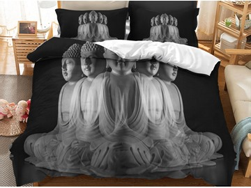 Unique Buddha Face Printed 3D Grey 3-Piece Bedding Sets/Duvet Covers