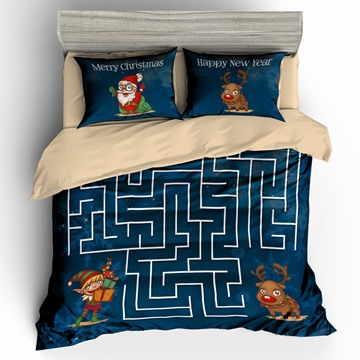Santa and Reindeer Maze Printed 3D 3-Piece Christmas Bedding Sets/Duvet Covers
