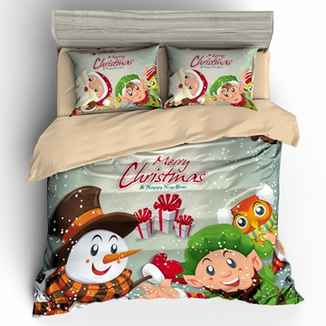 Snowman Children and Presents Merry Christmas 3D 3-Piece Bedding Sets/Duvet Covers