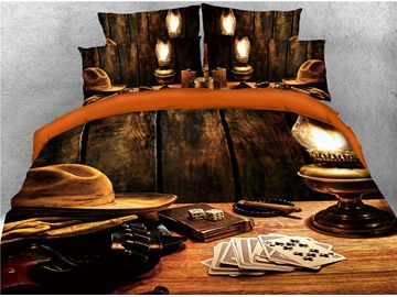 Cowboy Hat and Poker Wooden Printed 3D 4-Piece Bedding Sets/Duvet Covers