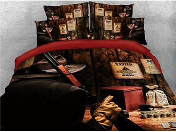 Rodeo Cowboy and Wooden Printed 3D 4-Piece Bedding Sets/Duvet Covers
