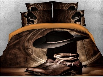 Wild West Themed Cowboy Hat and Boots Printed 3D 4-Piece Bedding Sets/Duvet Covers
