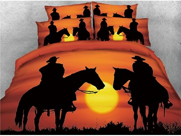 Rodeo Cowboy Style at Sunset Redwood Orange Printed 3D 4-Piece Bedding Sets/Duvet Covers