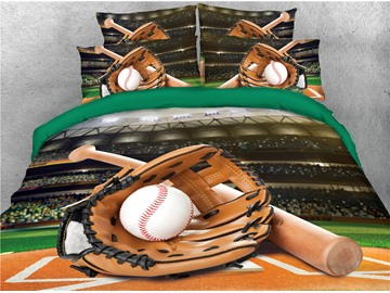 Catcher's Mitt Baseball Court Printed 4-Piece 3D Bedding Sets/Duvet Covers