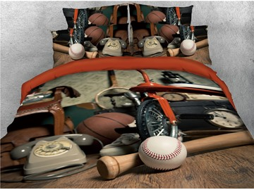 Baseball and Telephone Printed 4-Piece 3D Bedding Sets/Duvet Covers