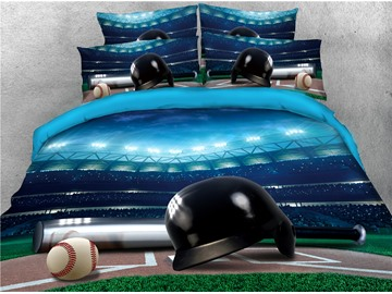 Baseball and Helmet Court Printed 4-Piece 3D Bedding Sets/Duvet Covers