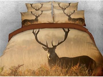 Reindeer Hidden in the Grass Printed 3D 4-Piece Bedding Sets/Duvet Cover