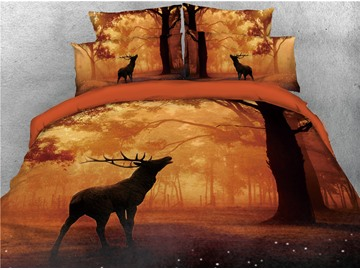 Reindeer and Forest Orange Printed 3D 4-Piece Bedding Sets/Duvet Cover