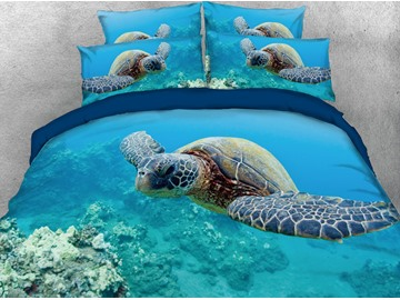 Turtle and Azure Sea Printing Cotton 3D 5-Piece Comforter Sets