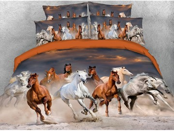 Galloping Horse Digital Printing Cotton 5-Piece 3D Comforter Sets