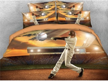 Player Hits Baseball on the Court 3D Printed Cotton 5-Piece Comforter Sets