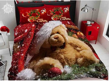 Brown Bear Wearing Christmas Hat Digital Printing Cotton 5-Piece 3D Comforter Sets