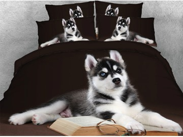 Husky with Book and Glasses Printed 5-Piece 3D Black Comforter Sets