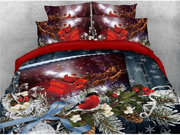 Reindeer Pull Santa's Sleigh and Christmas Tree Leaves Printed 4-Piece 3D Bedding Sets/Duvet Covers