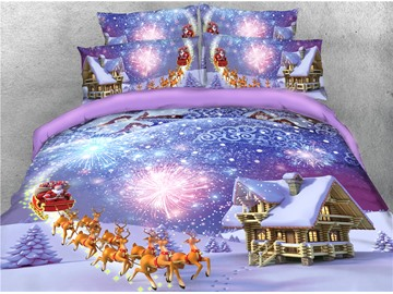 Reindeer Pull Santa's Sleigh and Fireworks Snow-house Printed 4-Piece 3D Bedding Sets/Duvet Covers