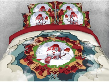 Smiling Snowman and Christmas Decorations Printed 4-Piece 3D Bedding Sets/Duvet Covers