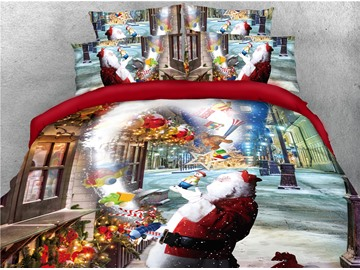 Santa and Street Full of Christmas Atmosphere Printed 4-Piece 3D Bedding Sets/Duvet Covers