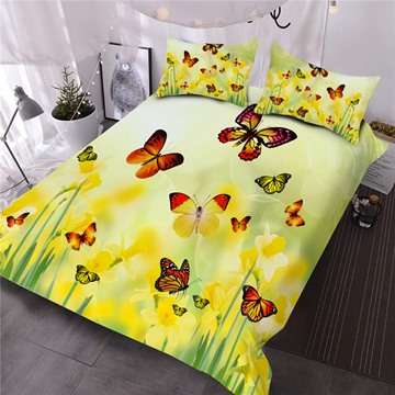 Butterfly and Yellow Flower Printed 3D Polyester Comforter