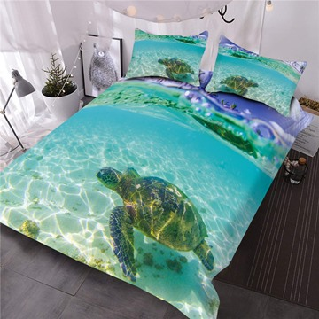 Turtle in the Blue Limpid Ocean Digital Printed 3D Comforter