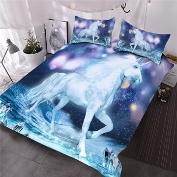 White Unicorn and Sparkling Lights Printed 3D Comforter