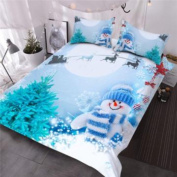 Santa and Sleigh Snowman Printed Merry Christmas 3D Comforter