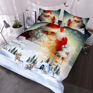 Santa Claus and Snow Scenery Printed 3D Christmas Comforter