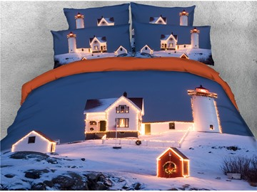Luminous Lighthouse and Snow-covered Houses Printed 3D 4-Piece Bedding Sets/Duvet Covers
