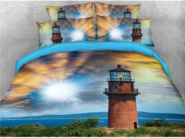 Lighthouse and Majestic Dreamy Sky Printed 3D 4-Piece Bedding Sets/Duvet Covers