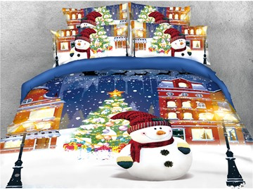 Snowman and Christmas Tree Printed 4-Piece 3D Bedding Sets/Duvet Covers